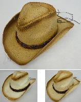 Paper Straw Cowboy Hat [Triple/Square Beads on Hat Band]